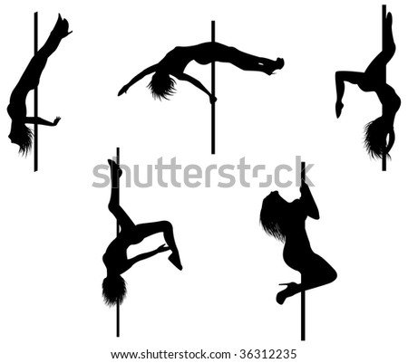 Five pole dancers silhouettes with sexy poses. - stock photo