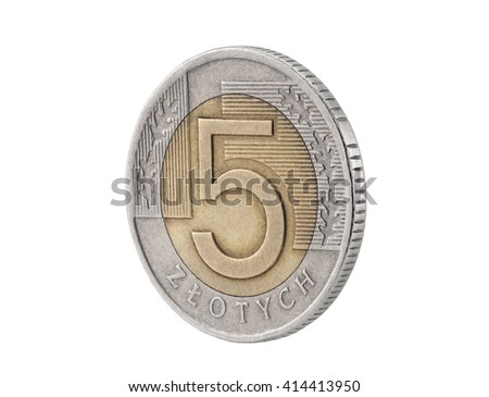 Five Polish Zloty coin isolated on white with clipping path - stock photo