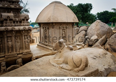 Five rathas complex with  in Mamallapuram, Tamil Nadu, India . Unesco World Heritage.