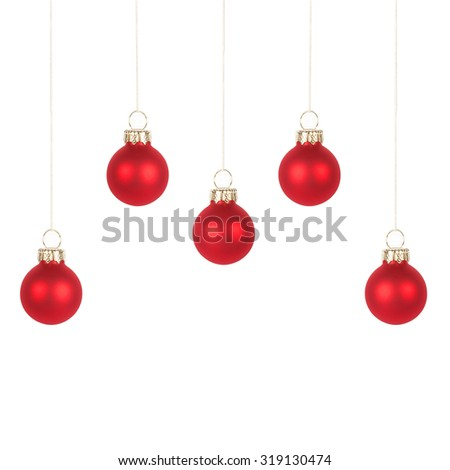 Five red Christmas tree balls, isolated on white background - stock photo
