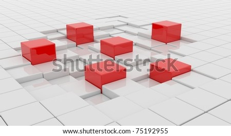 five red cubes on white surface