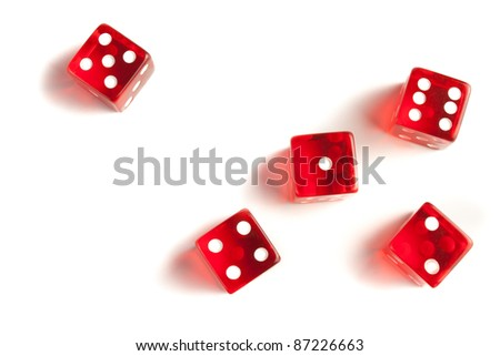 five red dice view from above on white background - stock photo