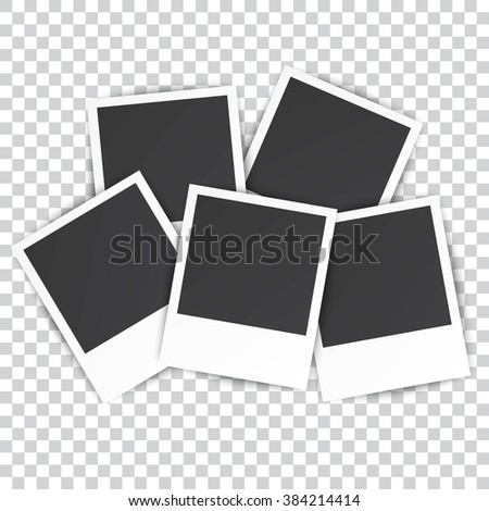 five Retro blank photography with a black place for your image in a photo album page. photo frame with shadow on a transparent background for your object. illustration Raster version - stock photo