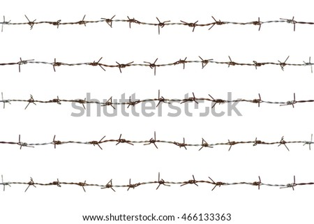 five rows of rusty barbed wire fence,isolate on white background,including clipping path