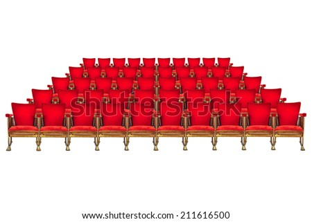 Five rows of vintage red cinema chairs isolated on a white background - stock photo