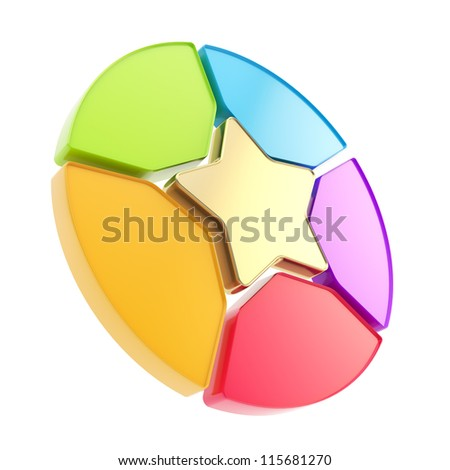 Five sector star emblem copyspace colorful diagram icon isolated on white background - stock photo