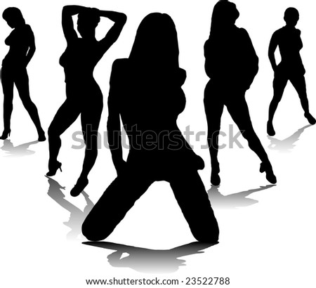 Five sexy women in black silhouette with a drop shadow