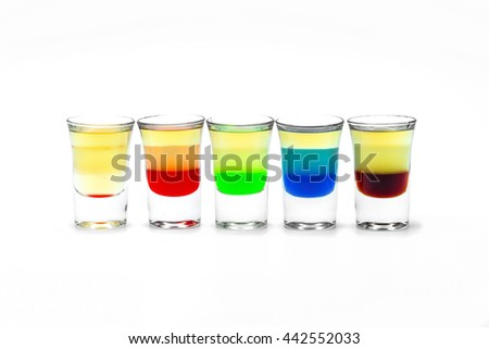 five short Alcoholic drink in a glass