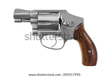 Five shot 38 caliber single action revolver handgun isolated with clipping path.   - stock photo