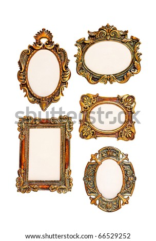 Five small frames isolated included clipping path