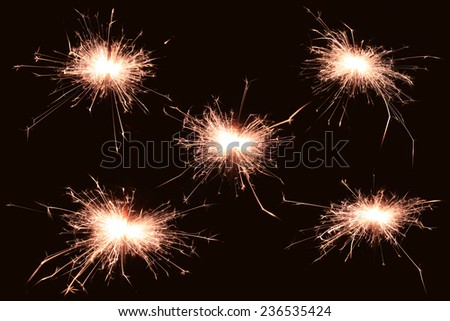 Five Sparkle firework isolate as background