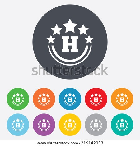 Five star Hotel apartment sign icon. Travel rest place symbol. Round colourful 11 buttons.