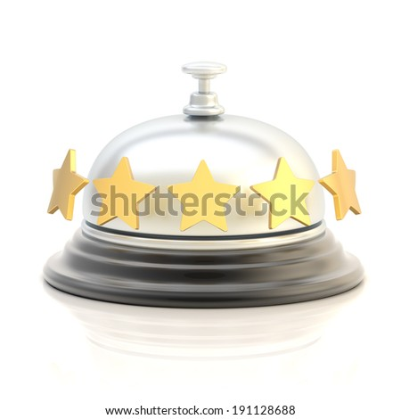 Five star hotel's reception silver bell over the white surface with reflections - stock photo