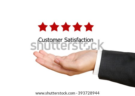 Five star over businessman on white background, customer satisfaction concept, business background - stock photo