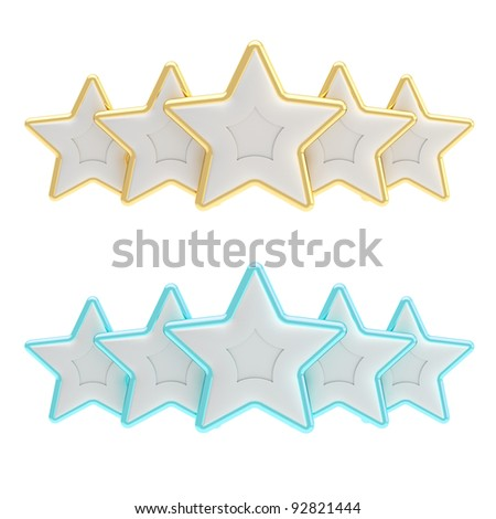 Five star rating composition made of silver gold and blue stars isolated on white - stock photo