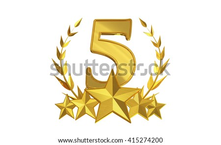Five star rating, 3d Illustration - stock photo