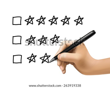 five star rating drawn by 3d hand over white background - stock photo