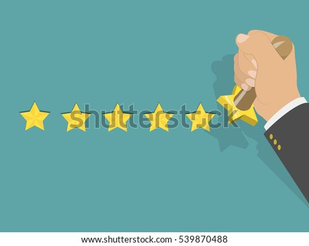 Five star rating isometric illustration. Man's hand printed five stars by the hand stamp. Customer feedback, vote, award.