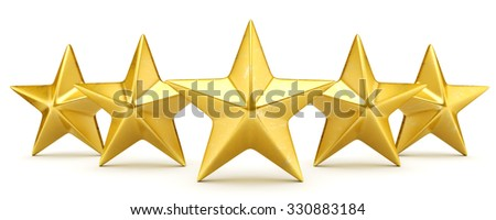 Five star rating - shiny golden stars - stock photo