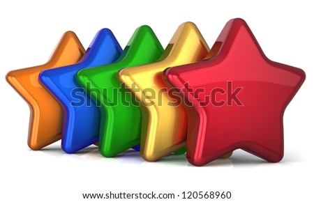 Five star 5 stars shape service award success decoration different multicolor. Best competition top quality business rating individuality concept. Detailed 3d rendering. Isolated on white background - stock photo
