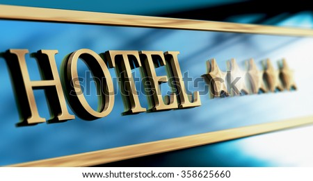 Five stars hotel sign written with golden letters over blue background. Horizontal image suitable for header - stock photo