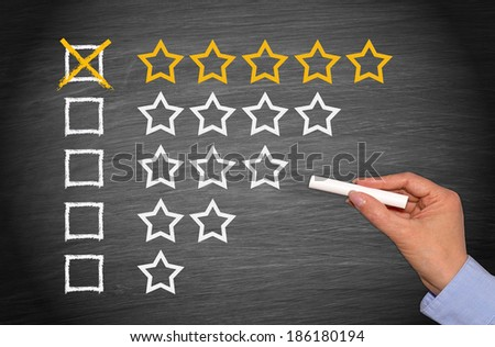 Five Stars - outstanding performance - stock photo