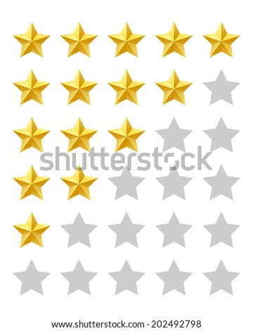 Five stars rating. Vector available. - stock photo