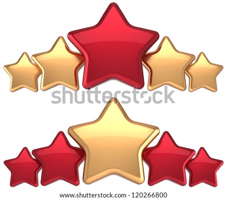 Five stars service gold red golden leadership award success decoration. Best competition top excellent quality business rating trophy icon concept. Detailed 3d rendering. Isolated on white background. - stock photo