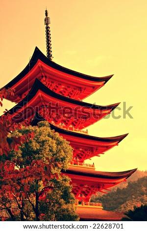 Five-storey pagoda in Miyajima, Japan - stock photo