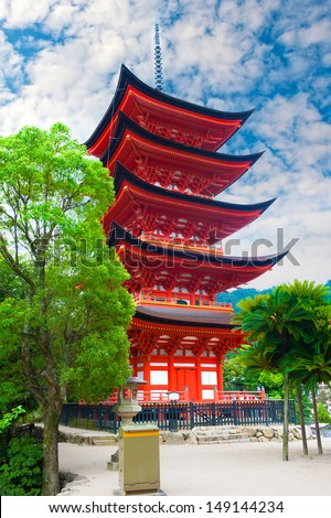 Five-storied pagoda  at Miyajima island, Japan
