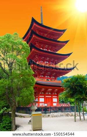 Five-storied pagoda  at Miyajima island, Japan - sunset