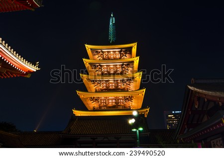 Five-story pagoda of Sensoji temple .It is a Buddhist temple located in Asakusa. It is one of Tokyo's most colorful and popular temples.