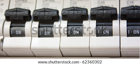 stock photo five switches turned on in fuse box 62360302 home fuse box stock images, royalty free images & vectors fuse box pictures at honlapkeszites.co