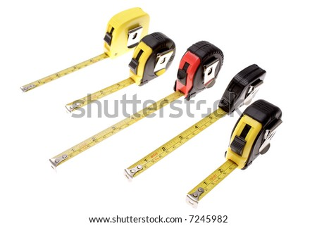Five tape measures isolated over white