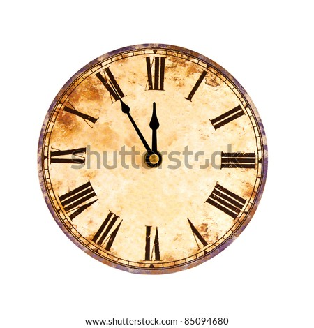 five to twelve, time on vintage clock - stock photo