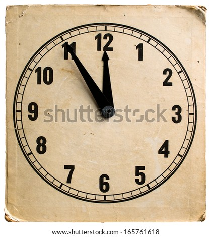 Five to twelve, time on vintage clock. Isolated from background - stock photo