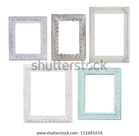 five wooden vintage photo frames isolated on white background - stock photo
