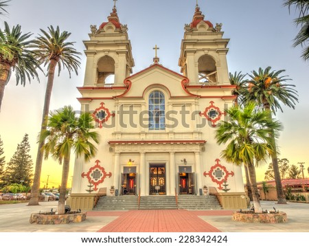Five Wounds Portuguese National Churchis parish church of the Latin Rite of the Roman Catholic Church in San Jose, California. - stock photo