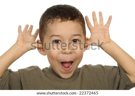 five-year-old boy teasing - stock photo