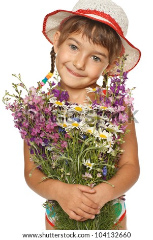 Five years old girl in summer hat holding a bunch of field flowers, over white background - stock photo