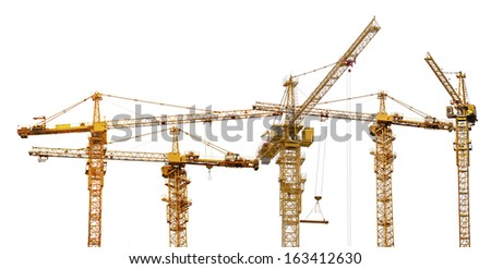 five yellow hoisting cranes isolate on white background - stock photo