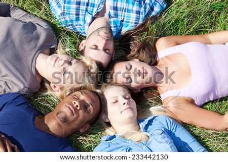 Five young people lying in the grass - stock photo