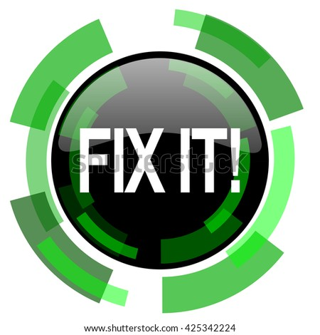 fix it icon, green modern design glossy round button, web and mobile app design illustration - stock photo