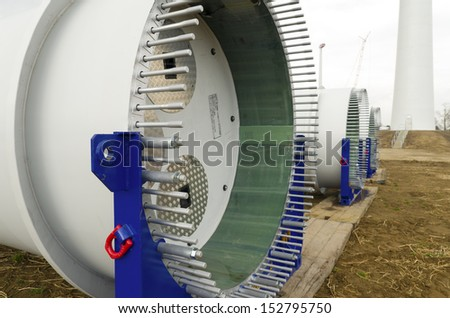 fixation part of the wing of a new wind turbine - stock photo