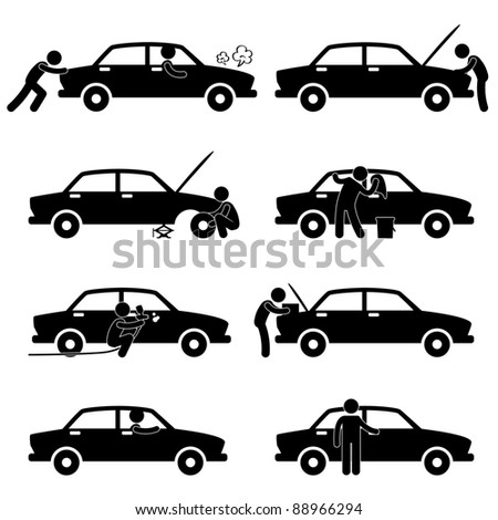 Fixing Checking Washing Repairing Painting Car Changing Tyre Icon Symbol Sign Pictogram - stock photo