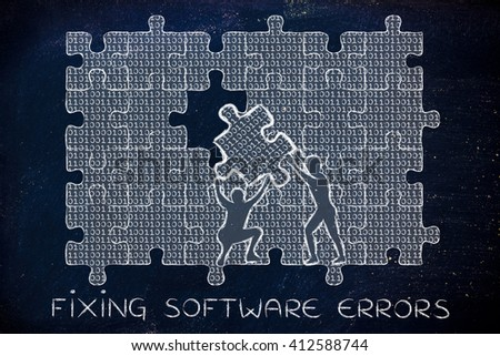 fixing software errors: men lifting piece of jigsaw puzzle with lines of binary code to fill a gap, metaphor illustration about software development and fixing bugs - stock photo