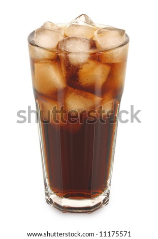 Fizzy cola with ice in a tall cafe style glass