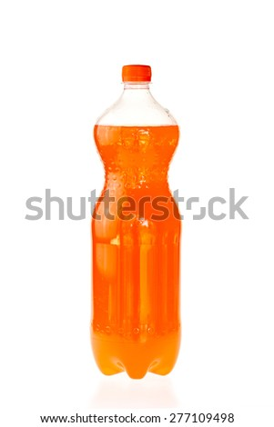 Fizzy drink in a plastic bottle isolated on white background - stock photo