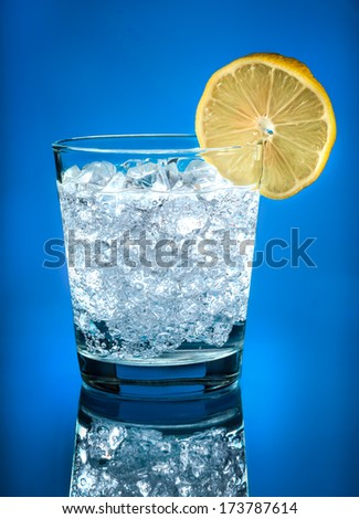 Fizzy Drink with Ice and Lemon Slice - stock photo
