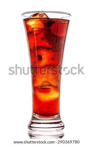 Fizzy drink with ice in a glass - stock photo